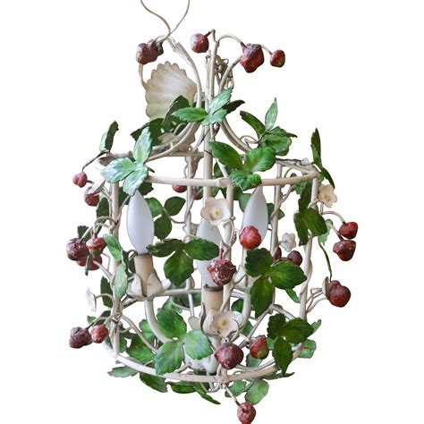 italian tole strawberry light fixture from