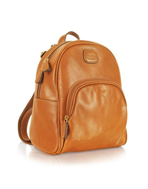 s leather backpack brown lyst bric s leather genuine leather backpack in brown