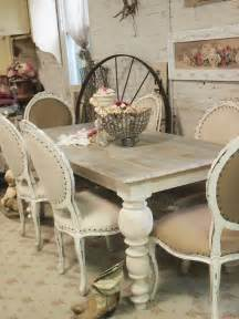 painted cottage chic shabby french linen dining table farm
