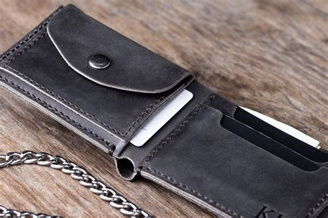 Leather Wallet Coin leather biker coin wallet handmade free shipping to the usa