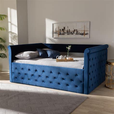 baxton studio amaya modern  contemporary navy blue