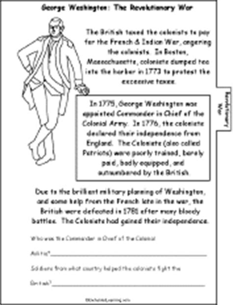 george washington biography for third grade george washington a printable book revolutionary war