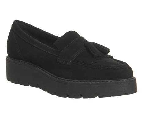 black suede loafers womens office punky flatform tassel loafers black suede