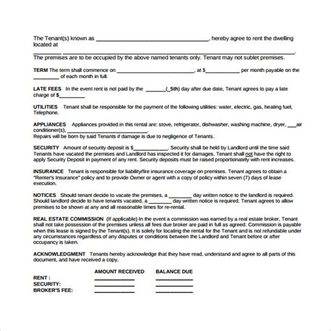 free simple lease agreement template sle simple lease agreement template 9 free documents