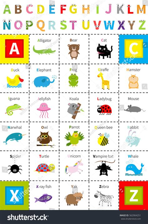 animal alphabet character stock vector animal zoo alphabet poster letters stock vector