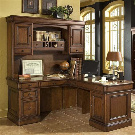 Furniture Rectangle Brown Wooden Office Desks With Hutch Office Desks With Hutch