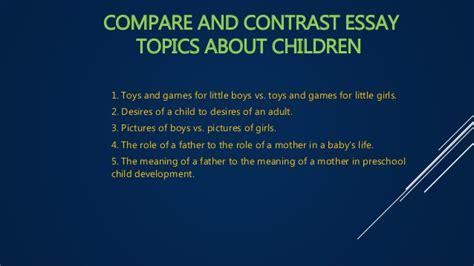 compare and contrast essay topics for compare