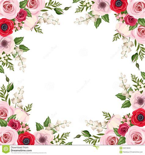 Ornate Cornice Pagina Con Le Rose Il Lisianthus Ed I Fiori Ed Il