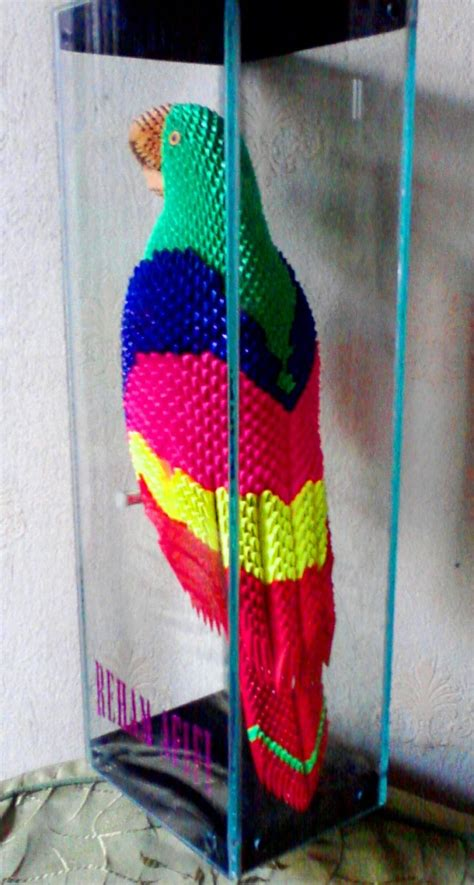 3d origami macaw parrot in glass3 jpg album mohammad nofal 3d