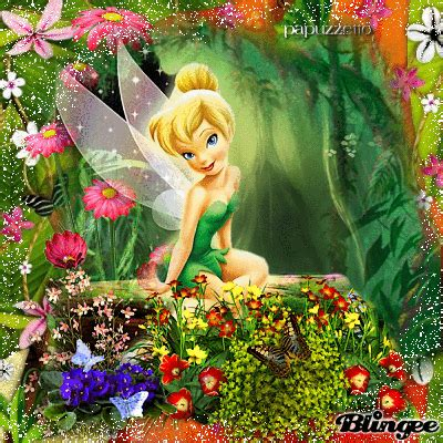 tinkerbell with flowers animated pictures for sharing