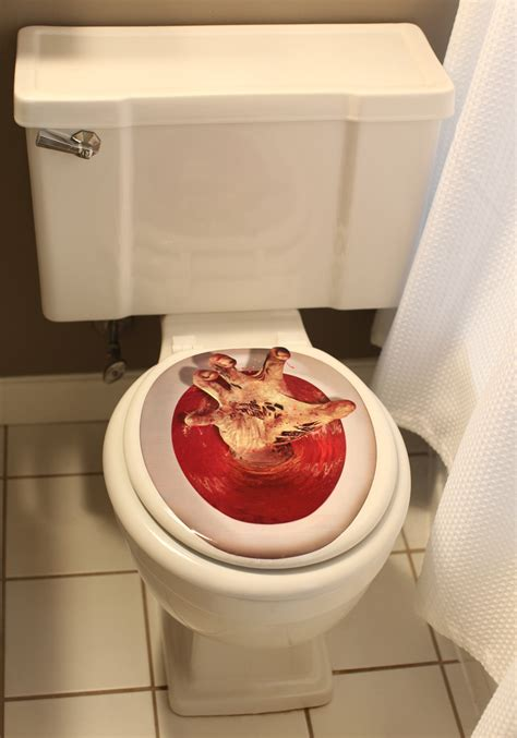 toilet seat topper reaching toilet topper scary decorations