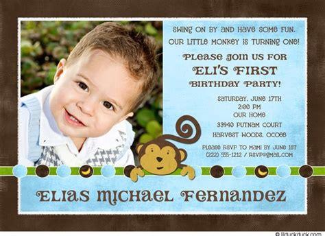1st Birthday Card Invitation Wording Monkey First Birthday Invitation Blue Photo Boy Party