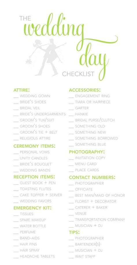 wedding day checklist template planner template wedding planners and planners on