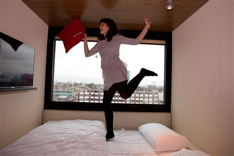 jumping bed a staycation at citizenm shoreditch rhyme ribbons