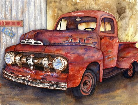 truck painting crusty ford truck painting by diane ferron