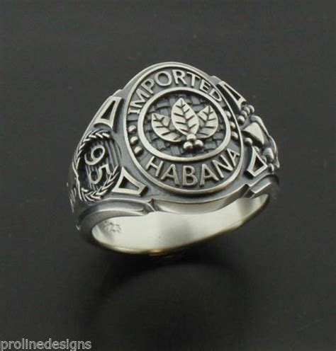tobacco leaves imported habana mens ring in sterling