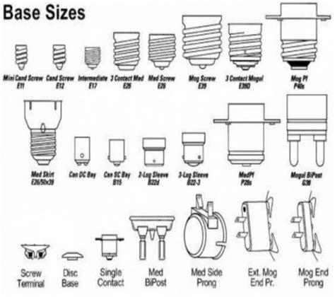 light bulb types chart light bulb base guide decoratingspecial com