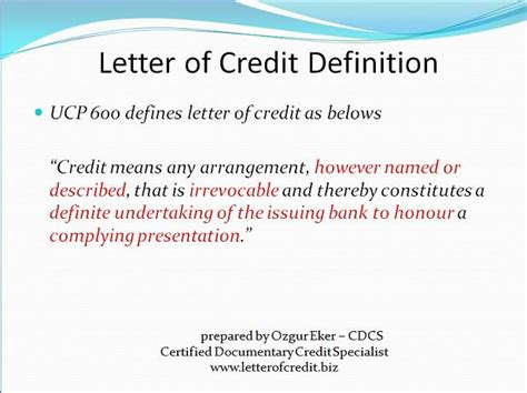 Letter Of Credit Definition Ucp 600 What Is Letter Of Credit Presentation 4 Lc Worldwide International Letter Of Credit