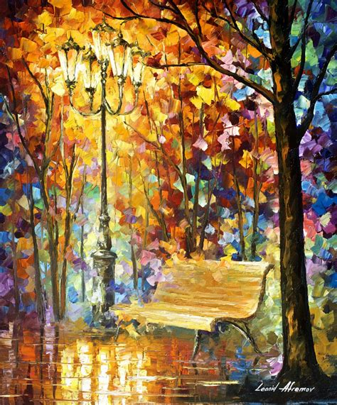 Minyak Fogg lost bench original painting on canvas by leonid