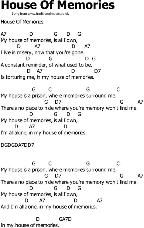 house music song lyrics old country song lyrics with chords house of memories