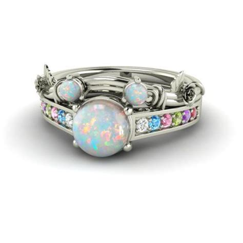 disney inspired round opal bridal set engagement by
