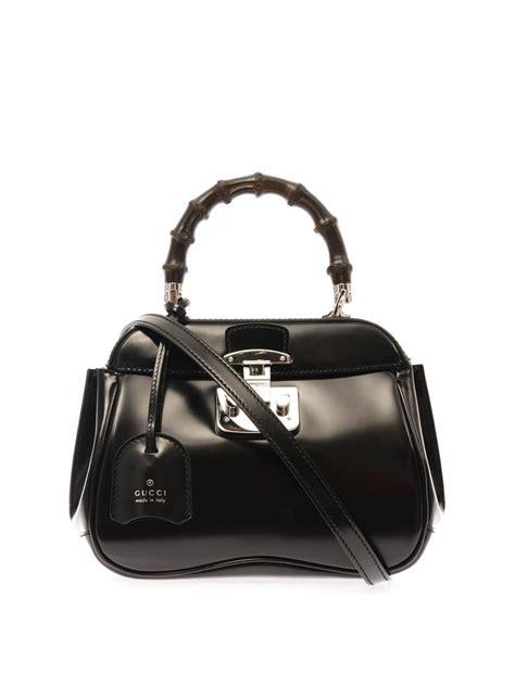 Gucci Mini Bag Dcg418 1 lyst gucci lock mini leather and bamboo bag in black