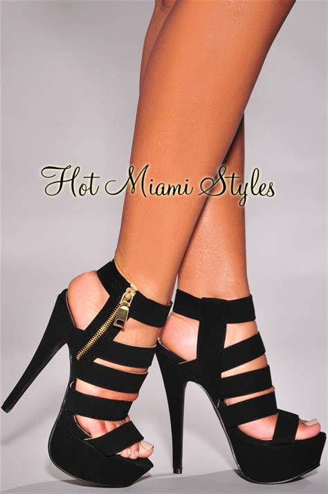 high strappy heels black strappy gold zipper accent high heel sandals
