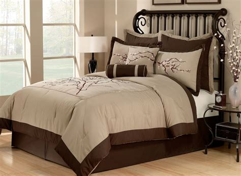 zen 8pc queen comforter set cherry blossom asian khaki