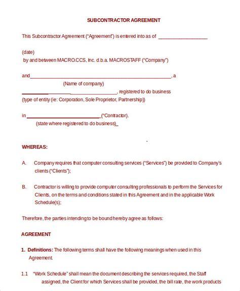 subcontractor agreement subcontractor agreement 11 free word pdf documents