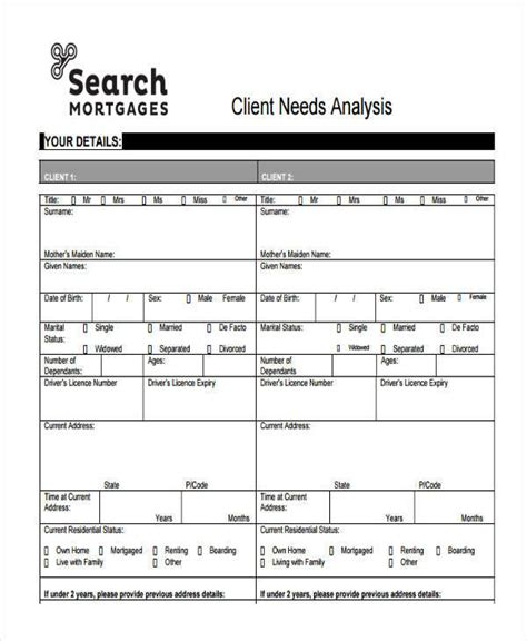 client analysis template 6 needs analysis templates exles in word pdf