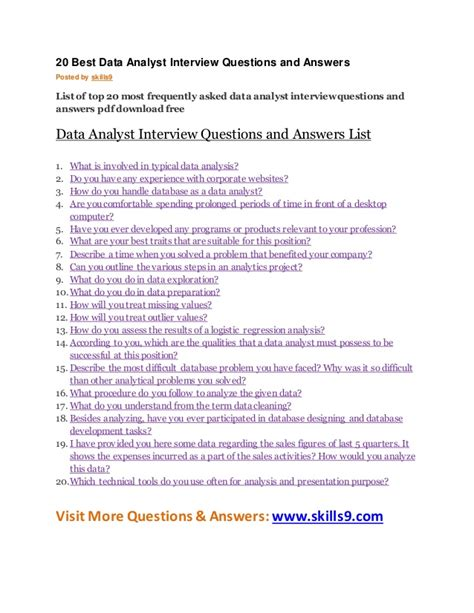 20 best data analyst questions and answers