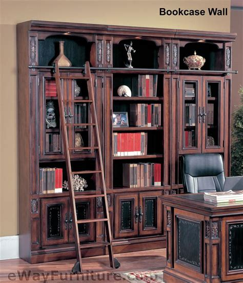 house davinci library bookcase wall with ladder