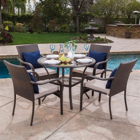 Outdoor Patio Dining Furniture Outdoor Brown Wicker 5 Dining Set With Beige Cushions Ebay