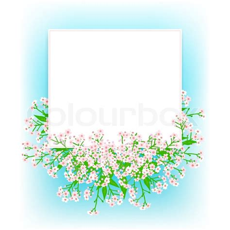 Small Wedding Card Template by Vector Card With Small Pink Flowers On Shining Sky Blue