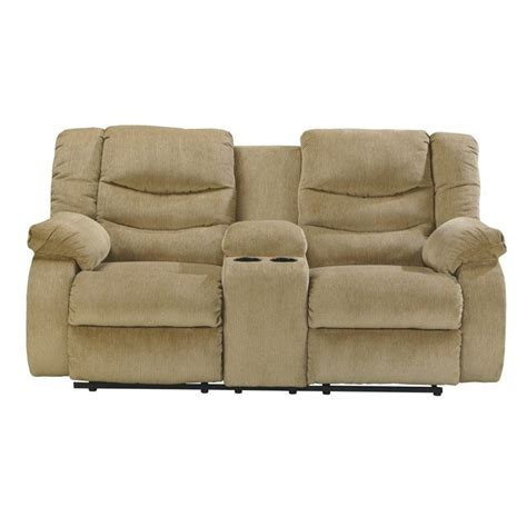 Ashley Furniture Garek Double Reclining Loveseat and Console in Sand   9200294