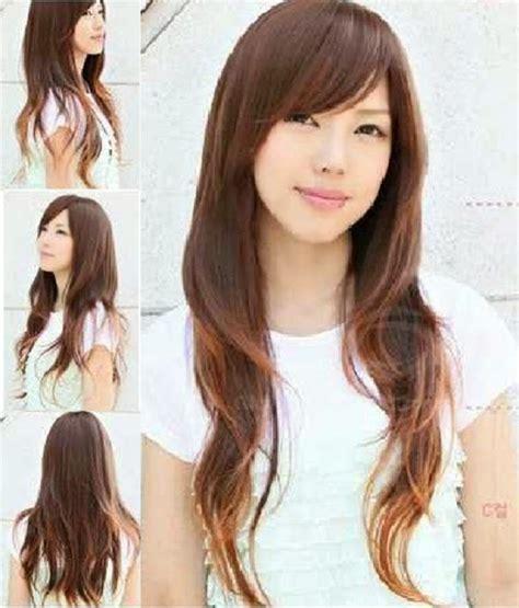 model potongan rambut layer panjang berponi bob  blow