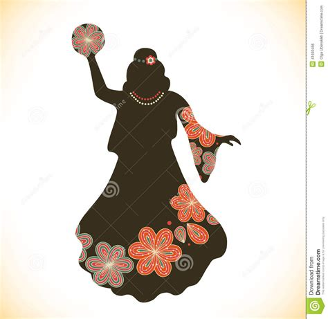 dancing woman in retro traditional clothes in