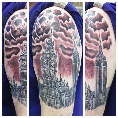 state street tattoo big ben new york empire state building moon sleeve