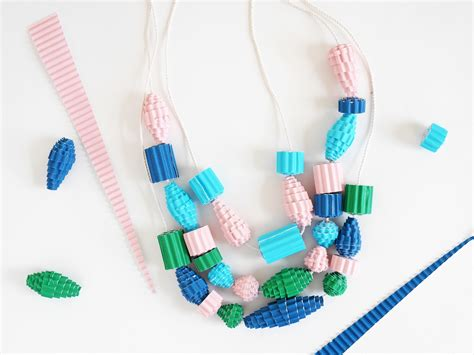 How To Make A Necklace With Paper - how to make a and easy colorful corrugated paper bead