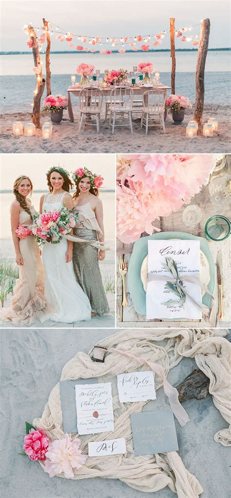 romantic boho beach themed wedding inspiration
