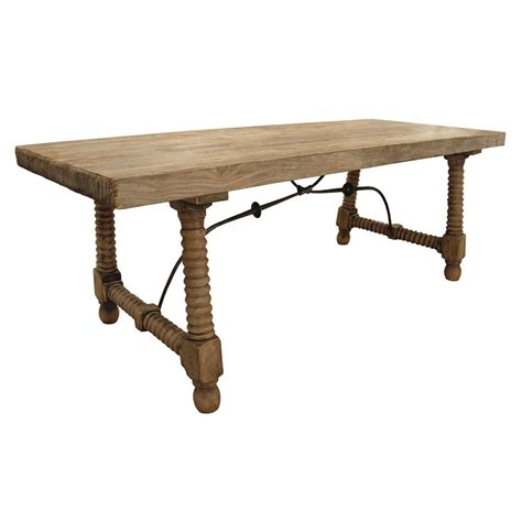 Reclaimed Elm Wood Dining Table Zareb Reclaimed Rustic Elm Wood Iron Base Dining Table Kathy Kuo Home