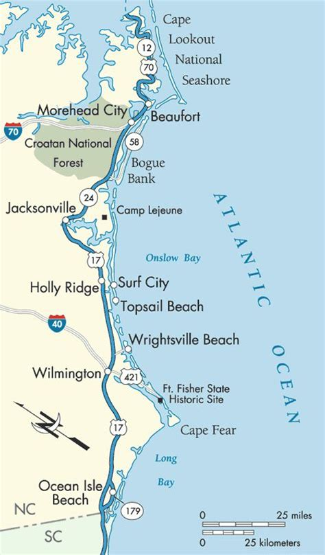 coastal carolina map atlantic coast beaufort to isle