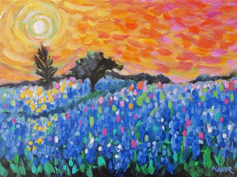 impressionist landscape painting bluebonnet painting original impressionist