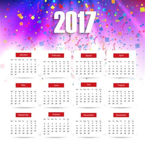 Calendario Vetor Colorful 2017 Calendar Vector Free