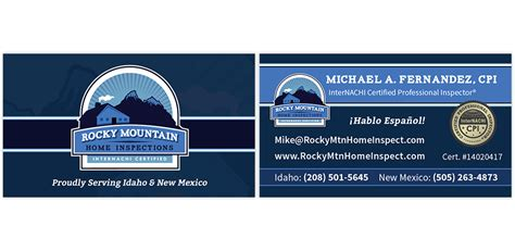 home inspection business cards templates rocky mountain home inspections internachi marketing
