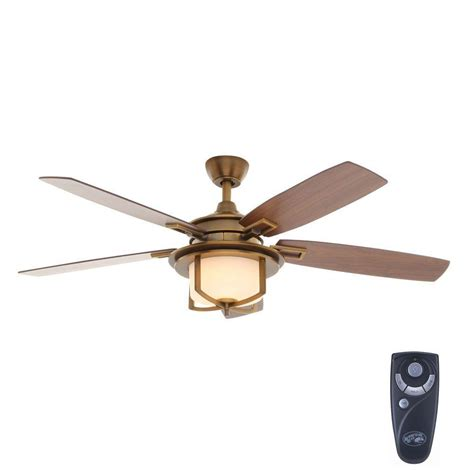 Home Depot Ceiling Fan Light Kit Hton Bay Devereaux Ii 52 In Indoor Weathered Brass Ceiling Fan With Light Kit And Remote