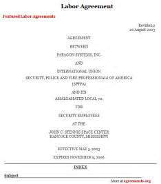 Labor Agreement Template labor agreement sample labor agreement template agreements org