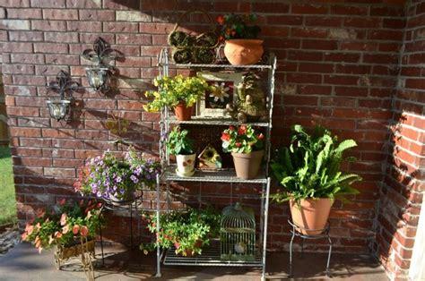 Outdoor Bakers Rack Ideas Decoration Using 4 Tier Baker Racks Including Plants Baker