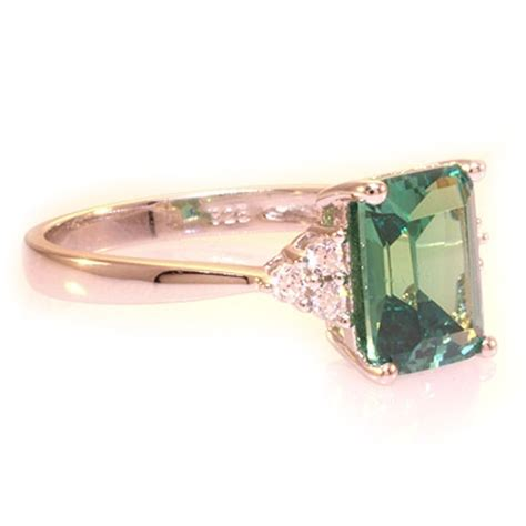 emerald cut color changing alexandrite silver ring