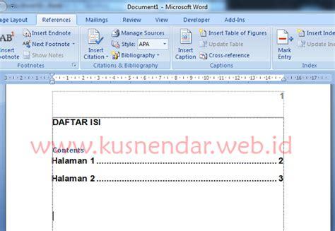 heading teknik dasar membuat daftar isi  word kusnendar